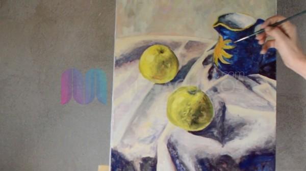 Pinta escenas de objetos orgánicos