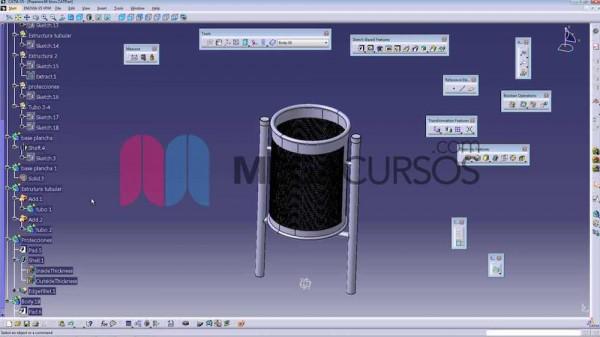 Catia - Aprenderemos a realizar matrices circulares con un modelado de papelera