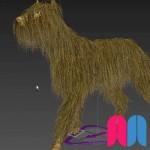 Perro peludo simulado